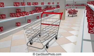 Sale - Shopping carts with red cubes Concept of discount