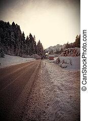 winter street - vintage effect image of winter landscape