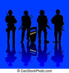 Anti terror police force armed and shielded. abstract art.