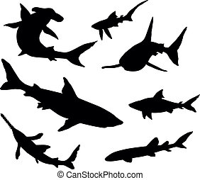 Vector silhouettes of sharks