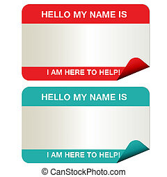 Name tags that say my name is... in red and green.