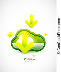Techno cloud - Green ecology cloud technology concept vector...