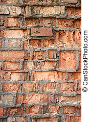 Texture of old brick wall with a small depth of field