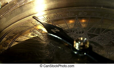 Golden compass, extreme closeup, reflections