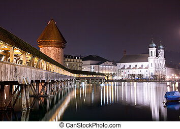 Chapel bridge Lucerne, Switzerland - Famous wooden Chapel...