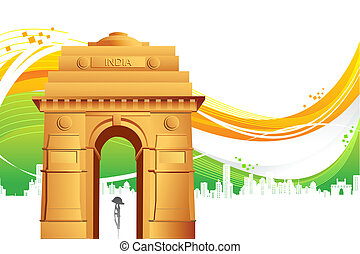 India Gate on Tricolor Background - illustration of India...