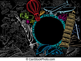 Travel Doodle - illustration of world famous monument with...