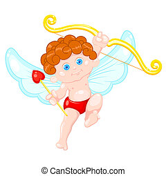 Cute Cupid - illustration of cupid holding bow and arrow on...