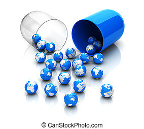Pill - Blue globes from drug capsule