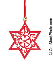 red star on string as decoration Christmas