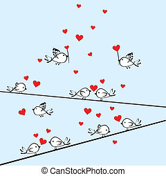 Valentine's Day background with birds and hearts