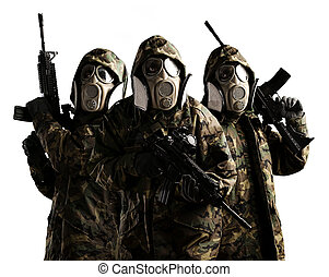 tree armed soldiers - Tree armed soldiers with gas mask and...