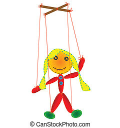 Handmade marionette, puppet on a string