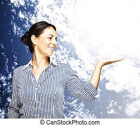 woman portrait - portrait of a middle aged woman smiling...