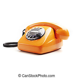 vintage telephone isolated - vintage orange telephone...