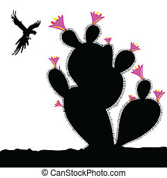 cactus and parrot in fly illustration on white