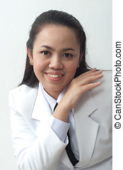 asian thai young business woman in white dress