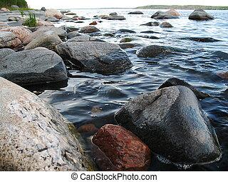 Lake coastline 2 - Big stones on lake coastline Ladoga...