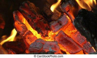Wood burning close up