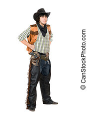 Young man dressed as cowboy. Isolated