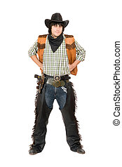 Young man dressed as cowboy