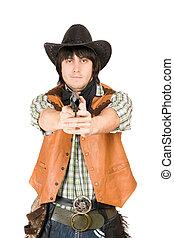 cowboy with a gun in hands