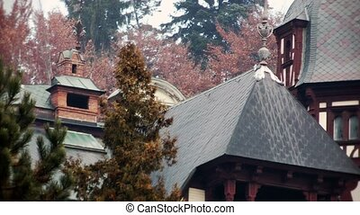 Peles Castle, Sinaia, Romania - Peles Castle zoom out,...