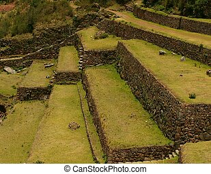 Inca agriculture terraces and stair - Closeup of Inca...