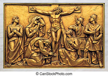 Mysteries of the Rosary - Golden bas-relief of the old...