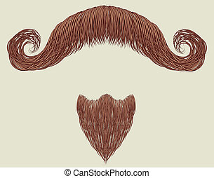Mustache and beard isolated for design
