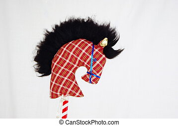 Toy horse - A homemade toy horse's head on a stick