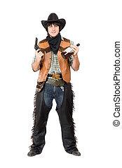 Smirking cowboy with a gun