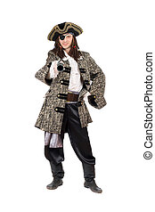 Man in a pirate costume. Isolated