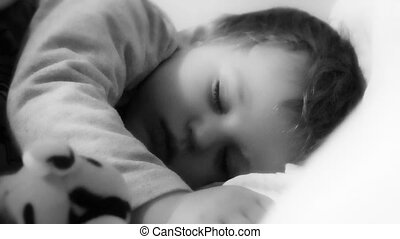 Baby Boy Sleeping, black and white