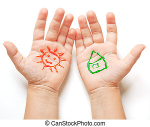 Drawn sun and house on baby hands. Spring concept