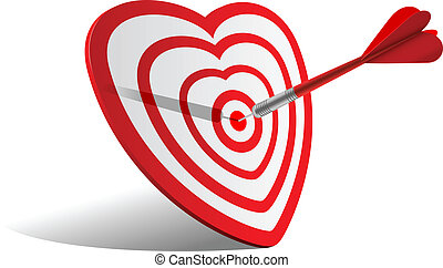 heart dart - vector concept valentine day illustration