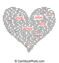Love concept word in many languages of the world in red and black color