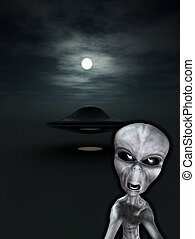 UFO With Angry Alien