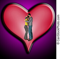 Couple Hugging With Love Heart - Couple hugging next to a...