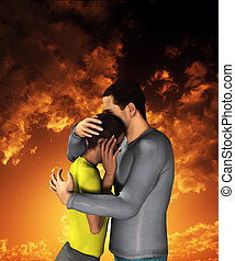 Sorrowful Hug - Man and women engaged in a sorrowful hug