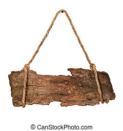 Wooden sign - Old wooden sign hanging on rope. Isolated on...