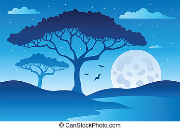 Savannah scenery with trees 2 - vector illustration