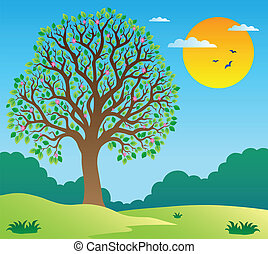 Scenery with leafy tree 1 - vector illustration