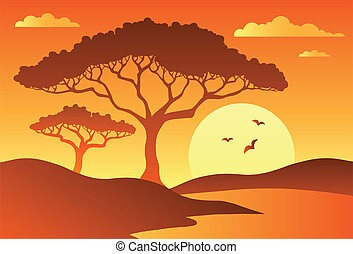 Savannah scenery with trees 1 - vector illustration