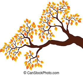 Tree branch with orange leaves 1 - vector illustration.