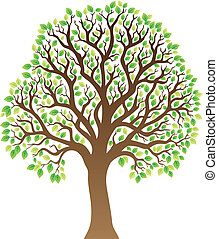 Tree with green leaves 1 - vector illustration
