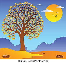 Scenery with leafy tree 2 - vector illustration