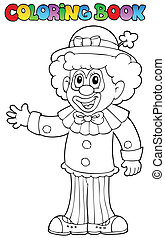 Coloring book with cheerful clown 3