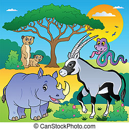 Savannah scenery with animals 1 - vector illustration.