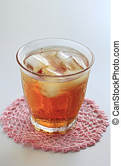 Cold glass of iced tea with ice